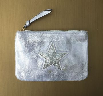Faux Suede Star Purse/Make Up Bag - Silver